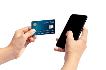 Woman hand holding blue credit card and using smart phone isolated on white background, front side view. Blue bank-card design mock up. mobile payment ,online shopping concept
