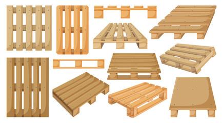 Wooden pallet vector cartoon set icon. Vector illustration warehouse platform on white background. Isolated cartoon set icon wooden pallet.