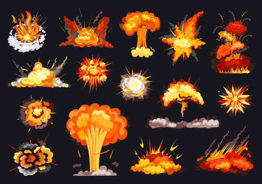 Explosion vector cartoon set icon. Vector illustration exploded on white background. Isolated cartoon set icon explosion .