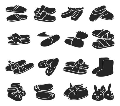 House slipper black vector set icon. Isolated black icon slipper and shoes.Vector illustration summer and spa shoe.