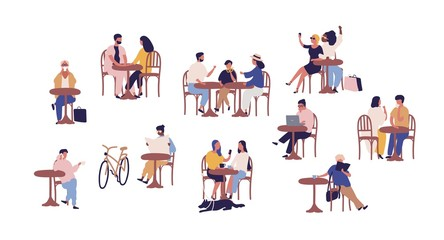 Set of people sitting at table in street cafe vector flat illustration. Collection of cartoon couple, family, child, man and woman resting at cafeteria isolated on white. Person relaxing together Wall mural