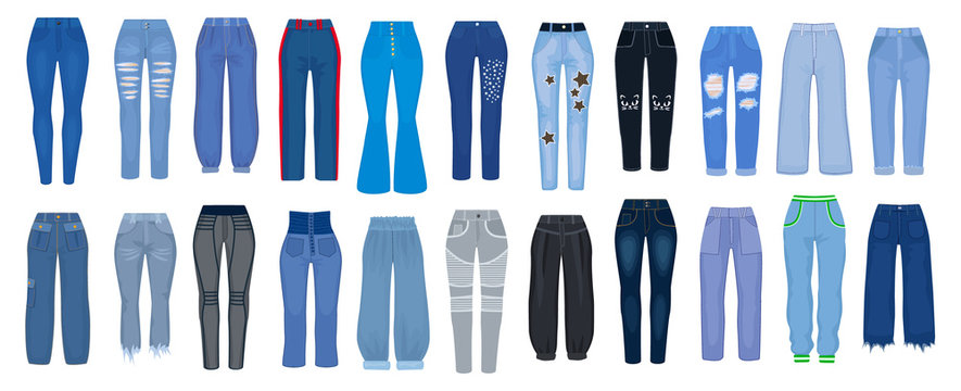 Jeans pants vector cartoon set icon. Vector illustration woman pants on white background. Isolated cartoon set icon type of jeans.