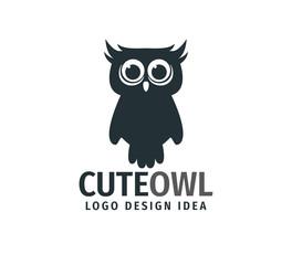 Canvas Prints Owls cartoon cute owl chick with big eyes vector logo design