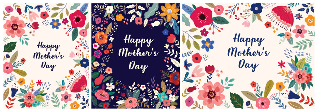 Collection of Happy Mothers Day greeting illustrations with colorful spring flowers. Happy Mothers Day templates, invitations
