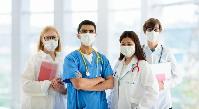 International doctor team. Hospital medical staff.