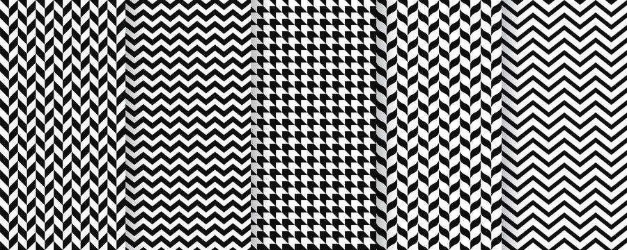 Herringbone seamless pattern. Vector. Twill print with herring bone, zig za and chevron. Tweed geometric textures. Set black white backgrounds. Simple illustration.