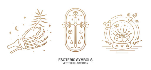 Esoteric symbols. Vector. Thin line geometric badge. Outline icon for alchemy, sacred geometry. Mystic and magic design with human skeleton bone hand, old sword and glass ball and all-seeing eye Wall mural