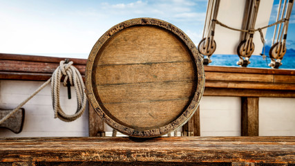 Barrel on desk and ship interior