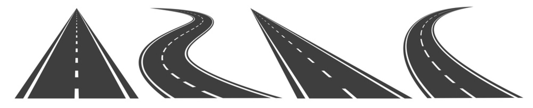 Road, highway isolated on white background. Vector