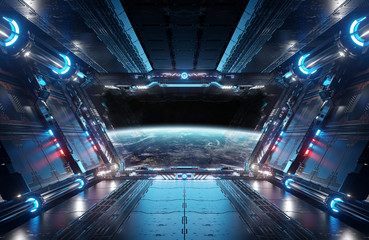 Wall Mural - Blue and red futuristic spaceship interior with window view on planet Earth 3d rendering