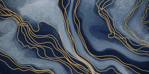 Abstract art paint navy blue with gold curved lines for backgrounds, banner in concept luxury.