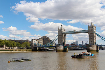 Printed roller blinds London Tower Bridge with the blue sky and clouds on a bright sunny day in spring, London, UK