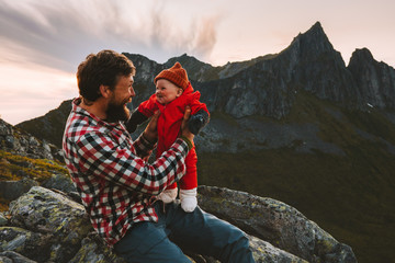 Father with baby daughter family traveling in mountains dad with child together outdoor adventure recreation summer healthy lifestyle