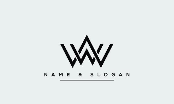W ,WW Letter Logo Design with Creative Modern Trendy Typography