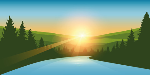 river in a forest at sunrise outdoor adventure vector illustration EPS10