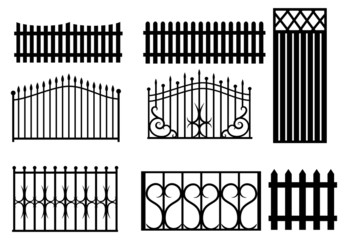 Set of silhouette fence. Collection of different types of fences wooden, metal, forged, decorative. Set of fencing for protection private property. Vector illustrations on white background.