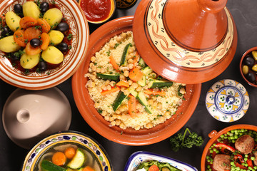 Wall Mural - assorted of moroccan dishes- couscous, tagine, meatball