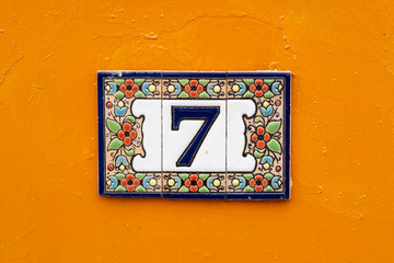 Number Seven on orange background