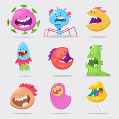Door stickers Monster Funny virus vector cartoon character set isolated on white background.