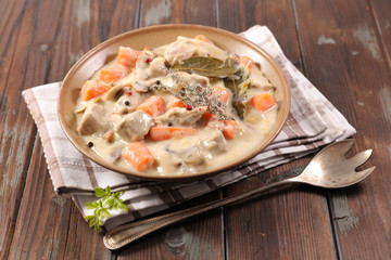 Wall Mural - veal cooked with cream and carrot