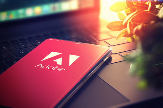 Adobe Systems Logo on Smartphone Screen. Adobe is a Multinational Software Company that Produces and Sells Multimedia and Creativity Software. 3D Render. KYIV, UKRAINE-JANUARY, 2020