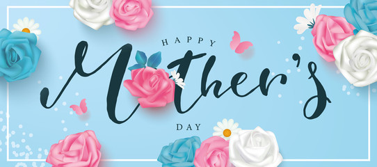 Happy mother's day postcard with roses, lettering, daisies and butterflies on a blue background. Template design for banner, flyer, card, invitation.Vector illustration Fototapete
