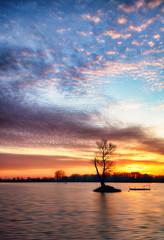 Fototapete - Lake with alone tree at dramatic sunset