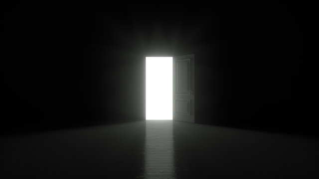 Light shines from door opening in dark room. Fills the space with bright white light. 3D render