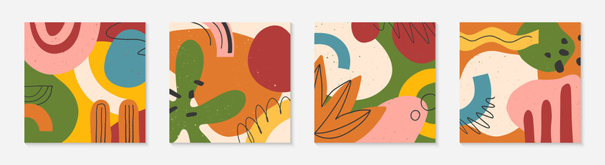 Bundle of creative universal artistic cards.Modern vector illustrations with hand drawn organic shapes and textures.Trendy contemporary design for prints,flyers,banners,brochures,invitations,covers.