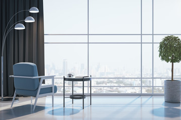 Empty living room with city view.