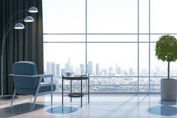 Modern living room with panoramic city view.