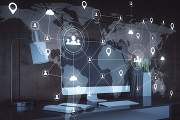 Remote work and social media network hologram