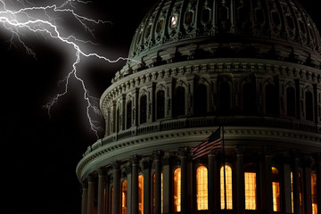 Fototapete - lightning on Washington DC Capitol view at night