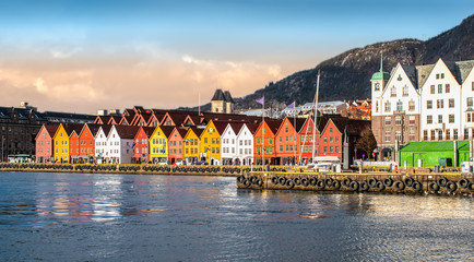 Wall Mural - Bergen, Norway. Panoramic city and harbor view with characteristic traditional wooden houses of Bryggen.