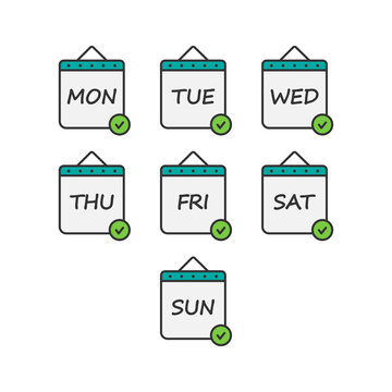 Days of the week icon set. Daily calendar flat design isolated on white background. Vector illustration