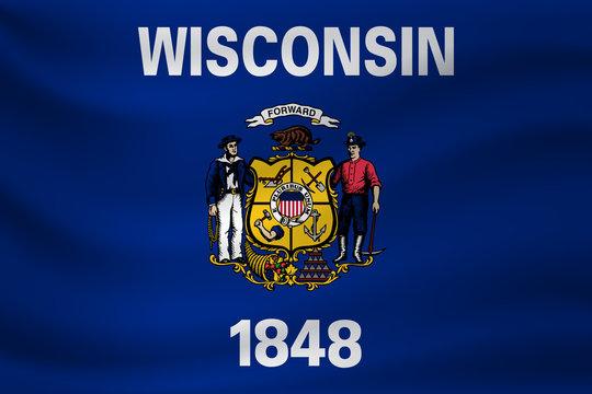 Waving flag of Wisconsin. Vector illustration