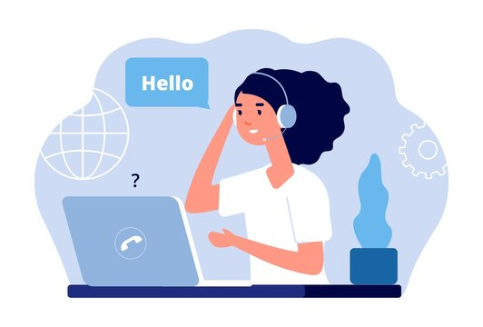 Support center. Calls administrator, woman with laptop and headphones. Customer service vector illustration. Administrator business with headphone, office contact assistant