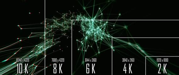 10K/ 8K/ 6K / 4K / 2K tv resolution display with comparison of resolutions. 3D render