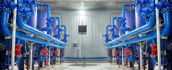 Fototapeta Water purification filter equipment in plant workshop obraz