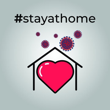 Stay At Home for protect Corona Virus icon /  Protection campaign or measure from coronavirus, COVID-19 / stayathome symbol
