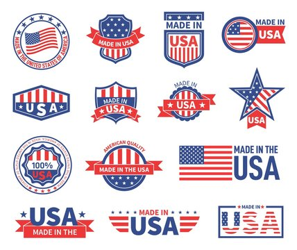 American labels. Made in usa seal badges design. Patriotic logo or stamp. Isolated tags with flag of america and star symbols vector set. American quality product, banner made in usa illustration