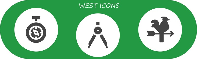 Modern Simple Set of west Vector filled Icons Wall mural