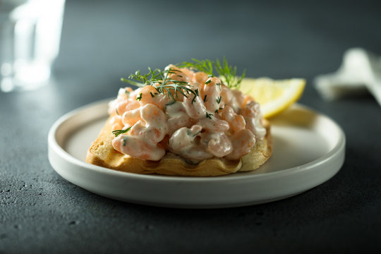 Traditional Swedish shrimp sandwich