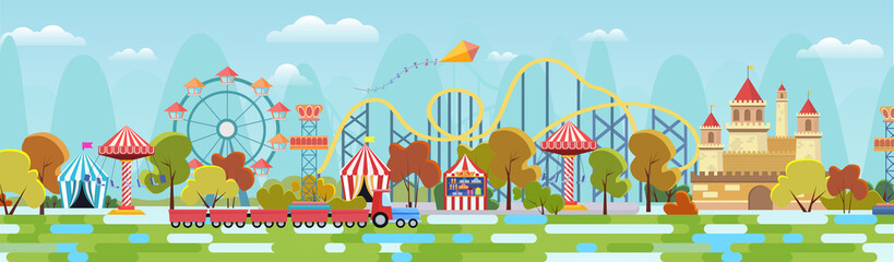Amusement park with attractions and fairytale castle concept flat vector illustration background, webpage, banner. Bright carousels, roller-coaster, toy train, cute trees, flying kite in blue sky Fotobehang