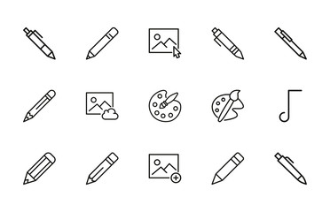 Set of art related vector line icons.