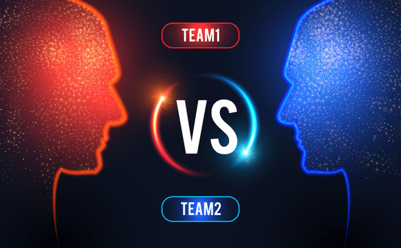 Versus. Sport competition template with men's heads silhouette and light. Team design.