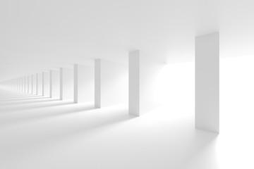 Fotobehang - Column Interior Design. White Modern Background