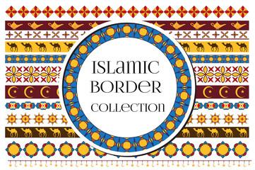Islamic arabic muslim patterns border ornament tribal style. Ramadan kareem background. Vector illustration