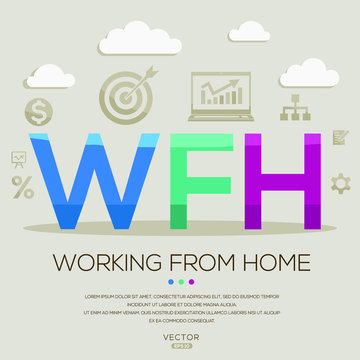 WFH  mean (working from home) ,letters and icons,Vector illustration.