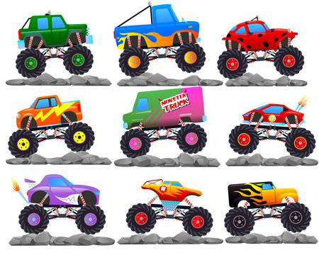 Monster cars. cartoon cars with big wheels